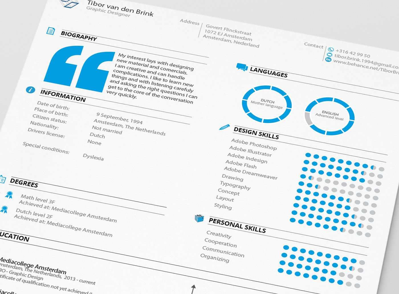 Personal Resume & Promotion on Behance Graphic design