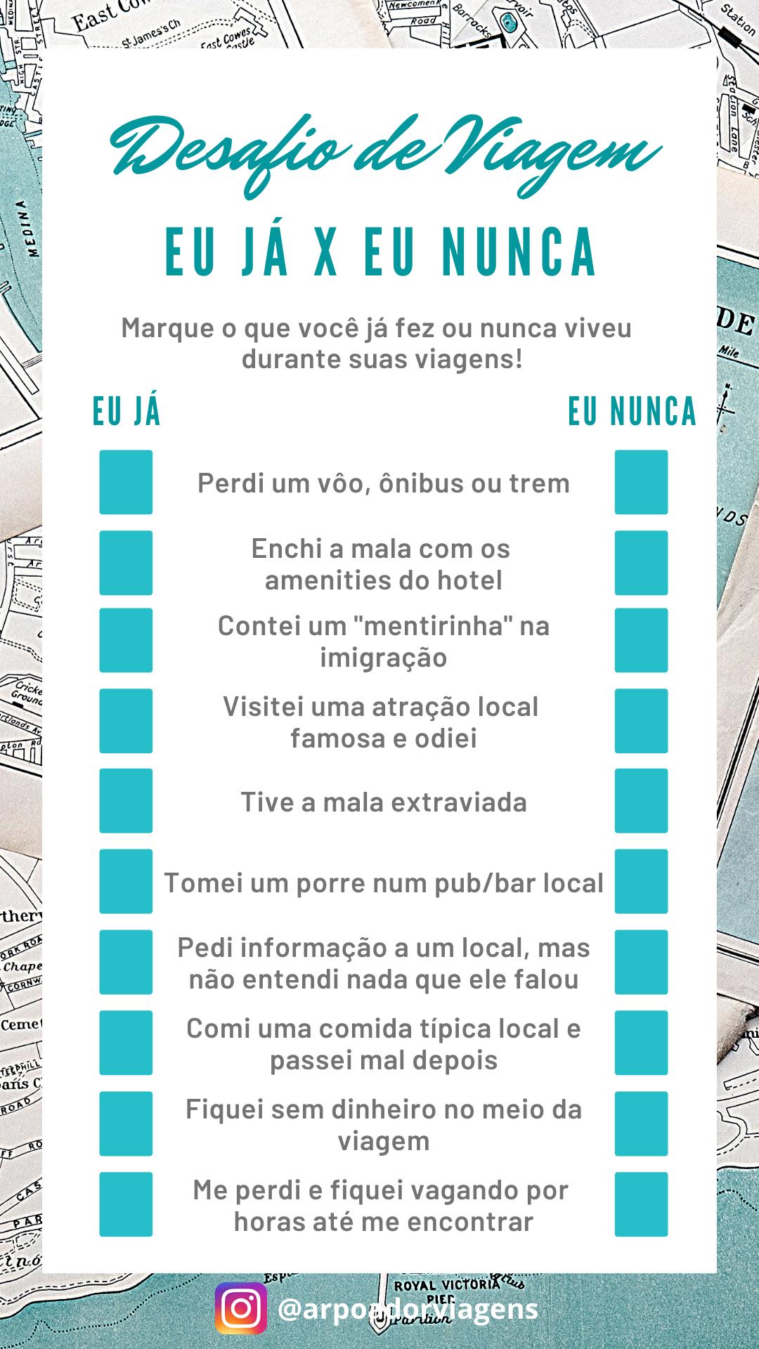 Desafio De Viagem Eu Ja X Eu Nunca Words Word Search Puzzle