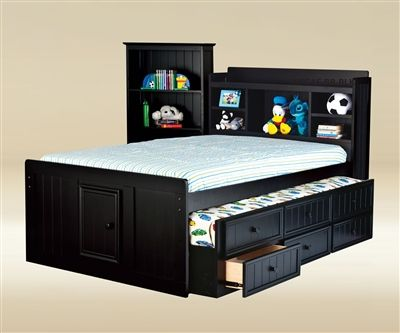 Hampton Full Size Bookcase Captains Trundle Bed Black Bedroom