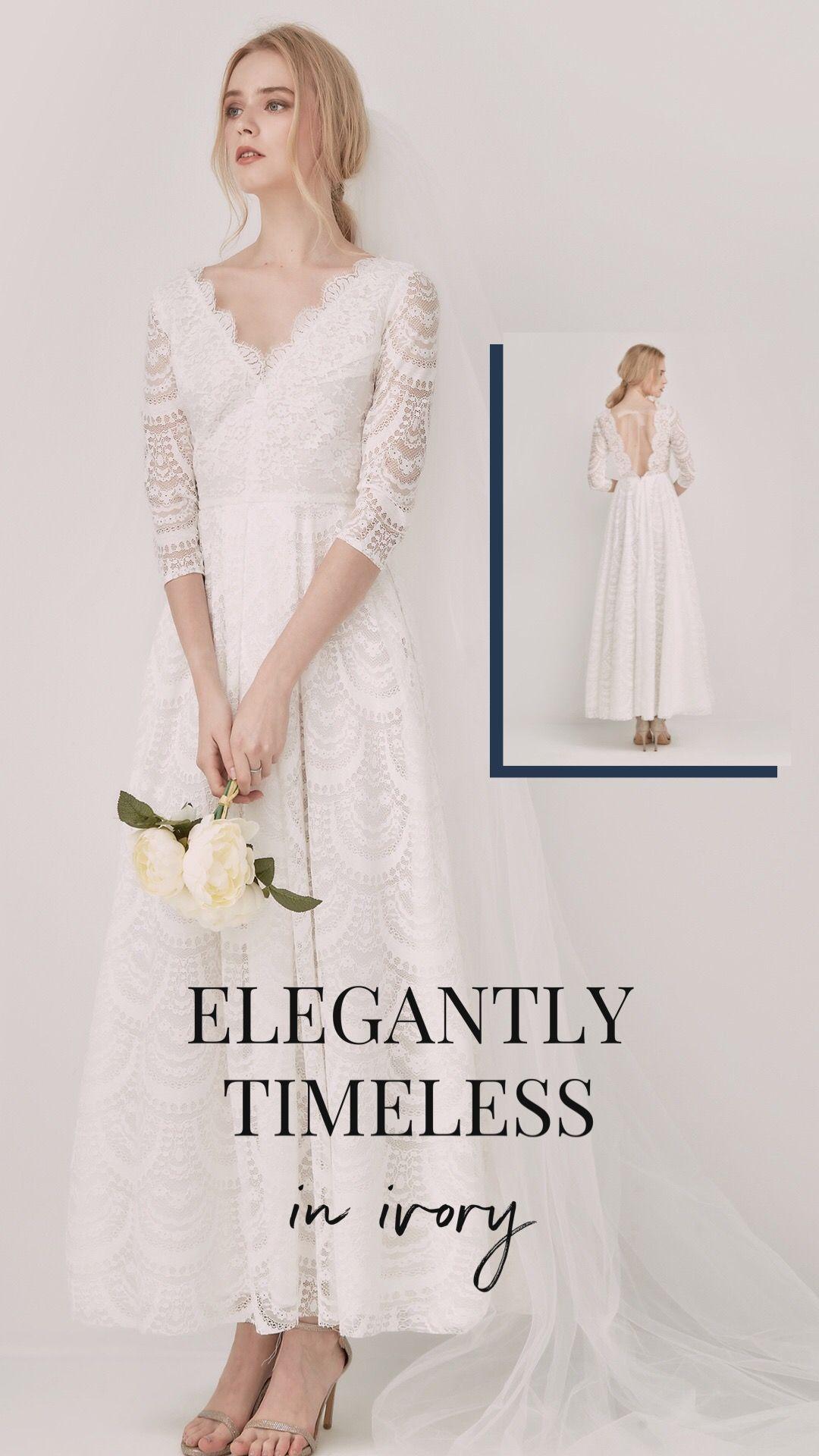 Usd 289 A Line Ankle Length Lace D Wedding Dress Pw0035 Ankle Length Wedding Dress Wedding Dresses Short Bride [ 1920 x 1080 Pixel ]