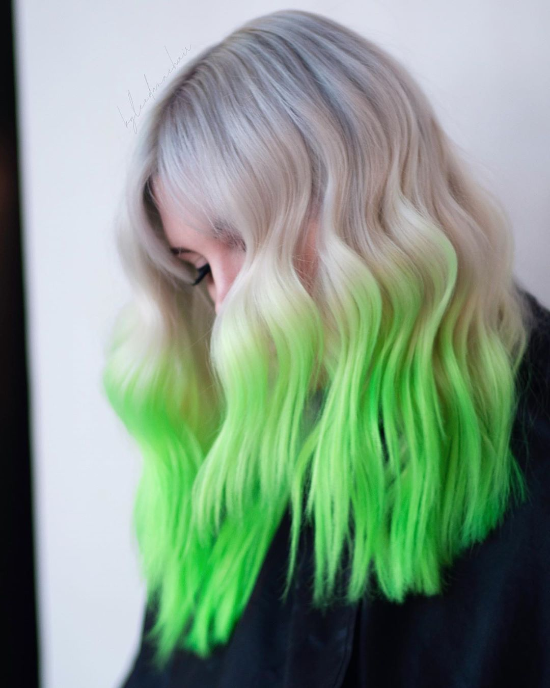 Loving These Soft Silver Roots And Vivid Neon Green Ends On