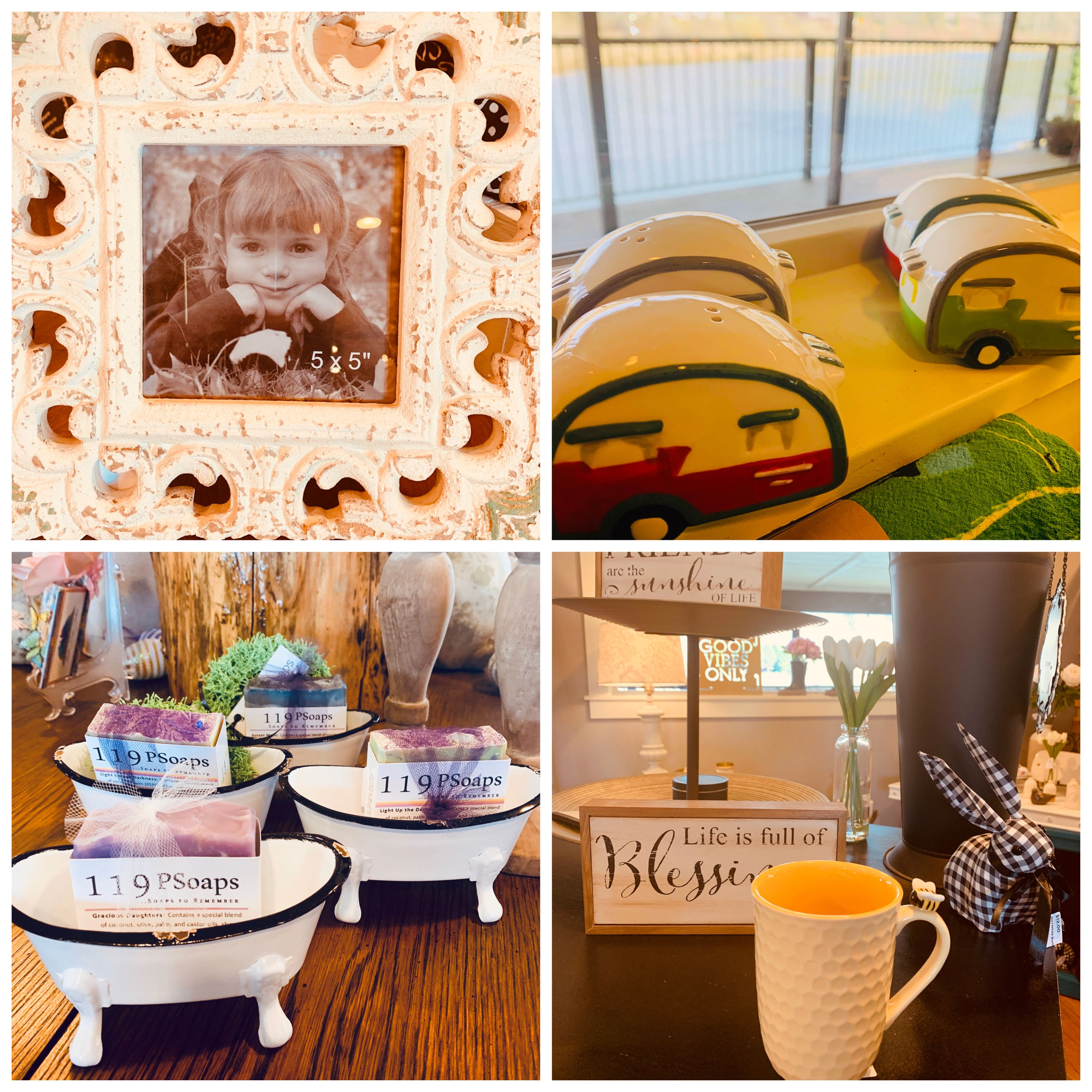 ~Monday Shopping~ Featured items from RiverHouse today!!  Antiqued Frame $27 Camper S&P Shakers $10 Tub Soap Dish $9.50 Bee Mug $13.00  PM RiverHouse to purchase any item posted from today and before.  Will be posting when an item is sold out.  Tomorrow we will be completing orders from 2-4 and can be picked up then or by appointment.   Thank you all❤️ #shopping #giftshop #springdecorating #shoplocal #frames #mugs #soapdish #saltandpeppershakers