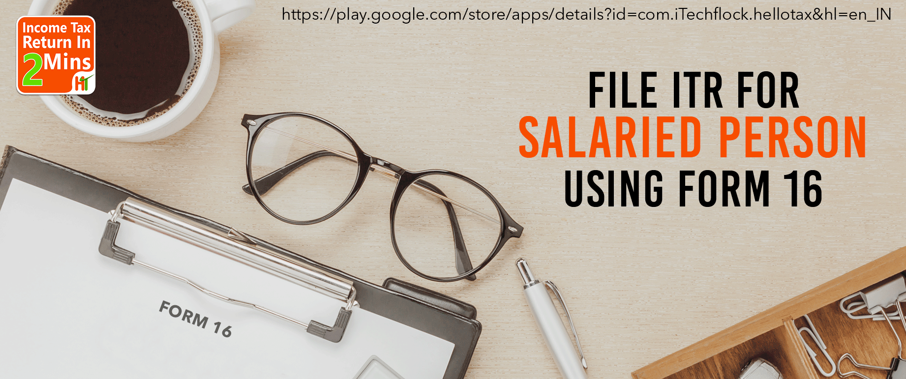 For this Download this app to File ITR for salaried person using