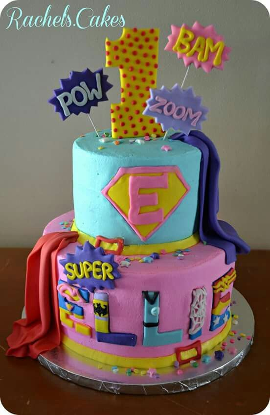 Girls Superhero Cake For Birthday Or Babyshower