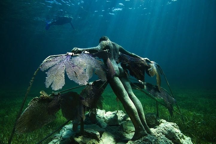 He unveiled his latest sculptures last year. They're located off the coast of Cancun, Mexico.