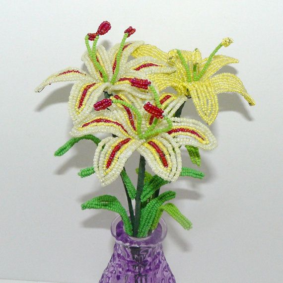 beaded flowers arrangement three lilies in yellow by