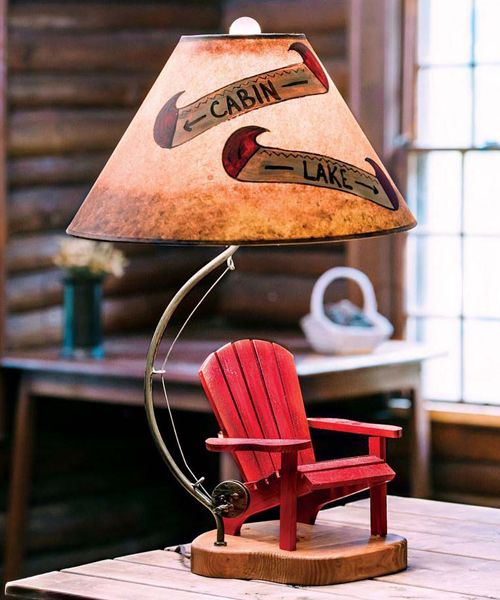 Adirondack Table Lamp Adirondack Rustic Lighting Cabin Decor Adirondack Table Black Forest Decor