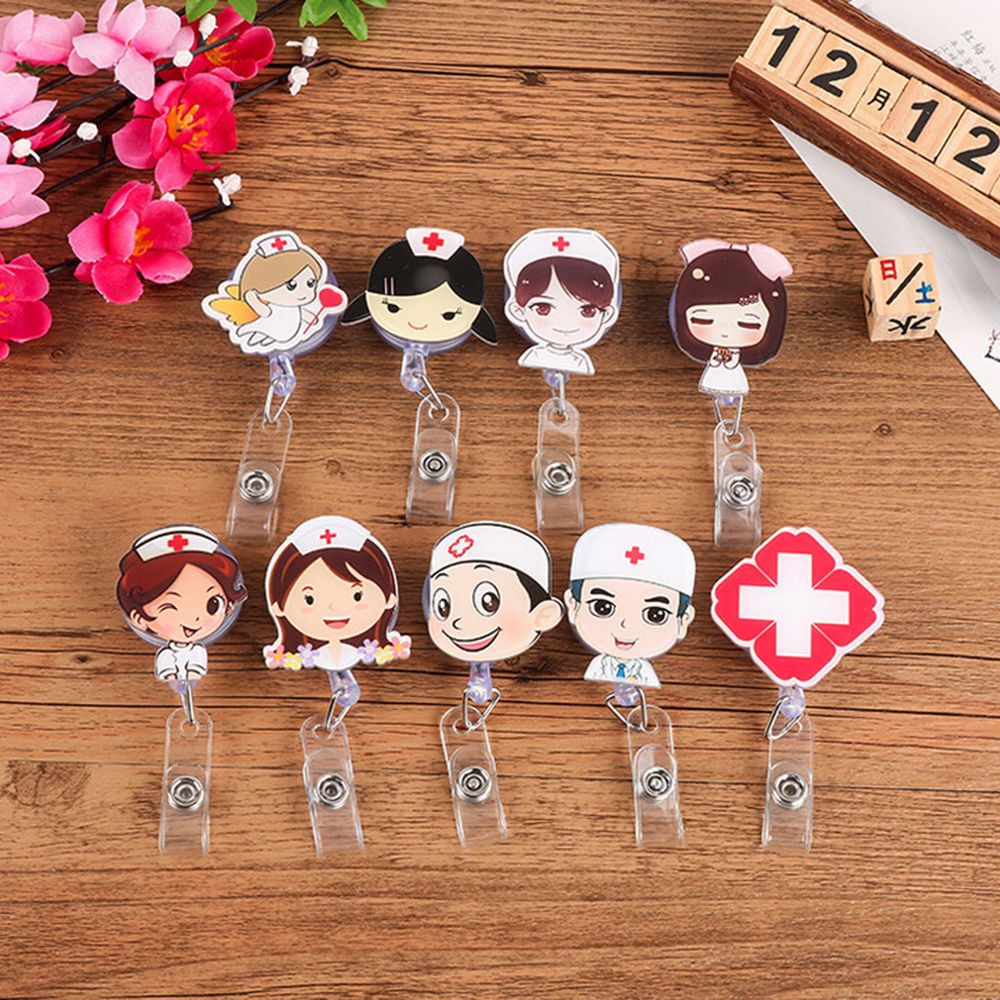 Clip Office Supplies Badge Holder Nurse ID Name Card Key Ring Lanyards NEW~~