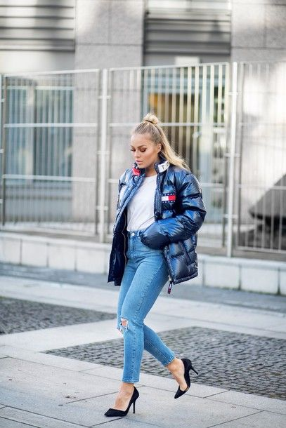 Jacket: angelica blick blogger tumblr puffer black quilted tommy hilfiger top white top denim jeans