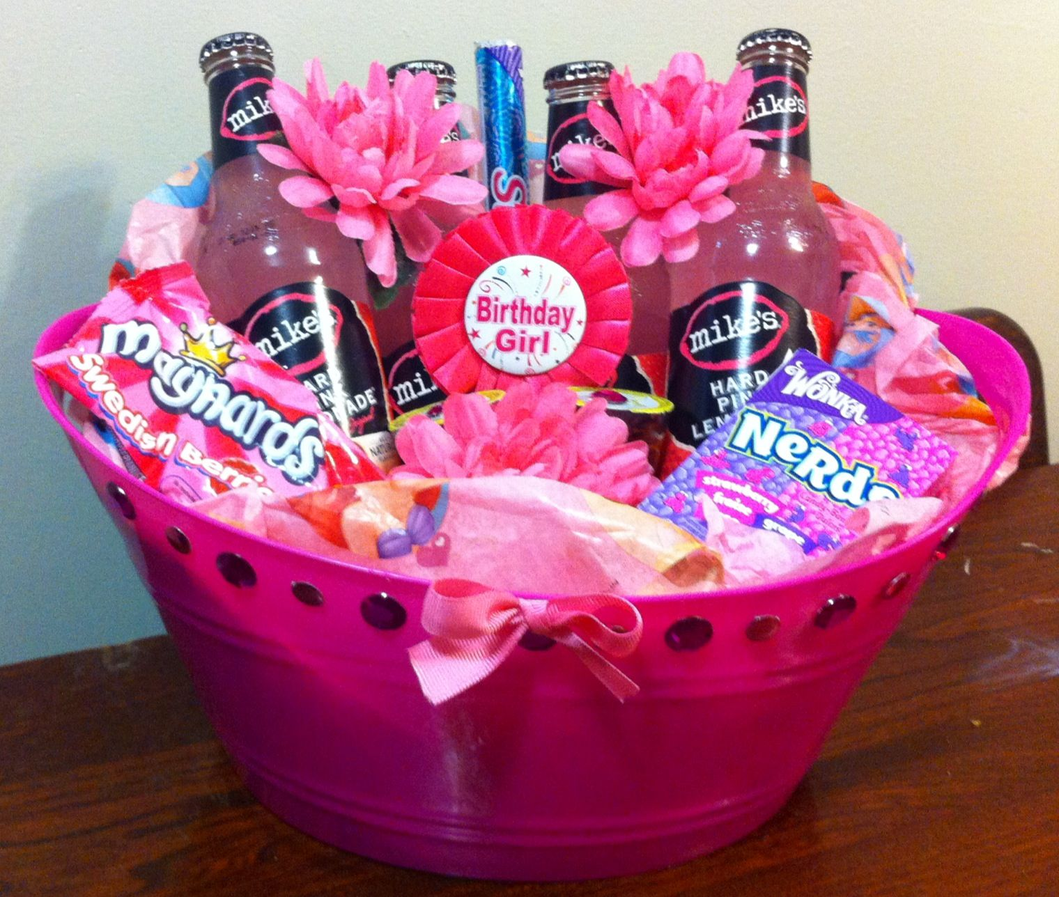Girly Birthday Basket Dollar Store Bin With Stick On Jewels Fake Flowers And Pink Tissue Paper Filled Things
