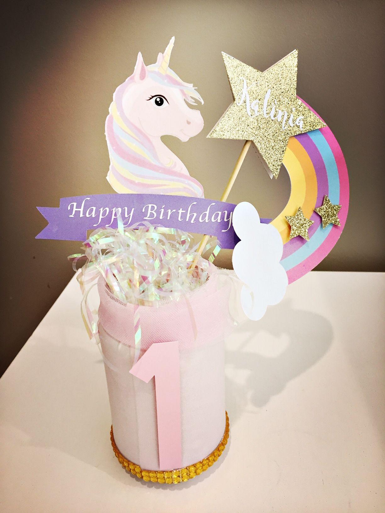 Unicorn party, unicorn party centrepieces, unicorn party