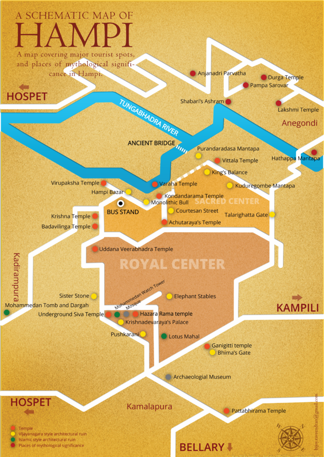 Hampi India Map.Schematic Map Of Hampi With Major Tourist Spots And Areas Of