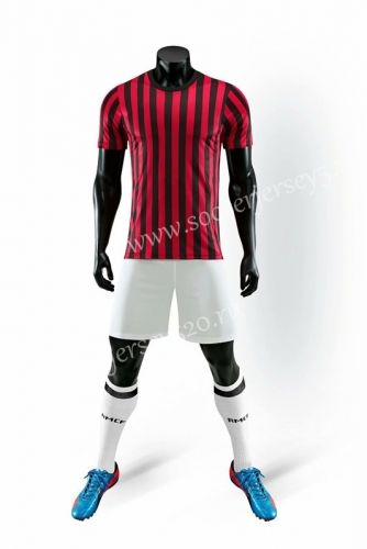 6e2cd9eb4dc Without Logo 2019-2020 AC Milan Home Red and Black Soccer Uniform ...