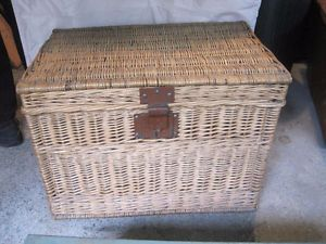 Large Vintage Wicker Storage Trunk Paris