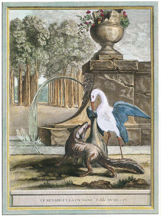 Jean baptiste oudry le renard et la cigogne livre i the fox and the stork book i fable - Le renard et la cigogne dessin ...