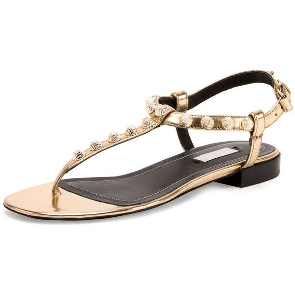 Balenciaga Studded Leather T-Strap Sandal ($515) ❤ liked on Polyvore featuring shoes, sandals, gold, balenciaga shoes, stacked heel sandals, ankle strap flats, metallic flats and ankle strap thong sandals