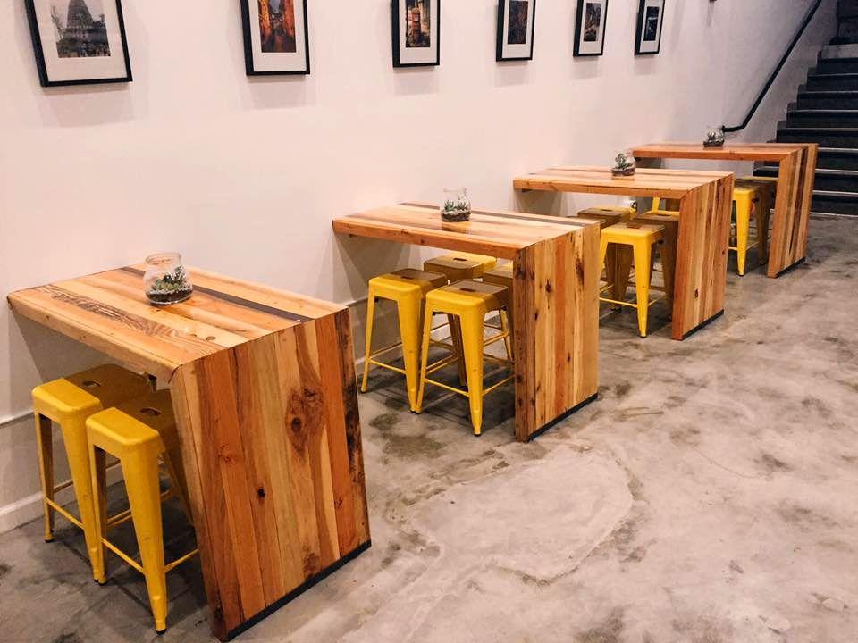 L Shape Pallet Restaurant Coffee Shop Tables 300 Pallet