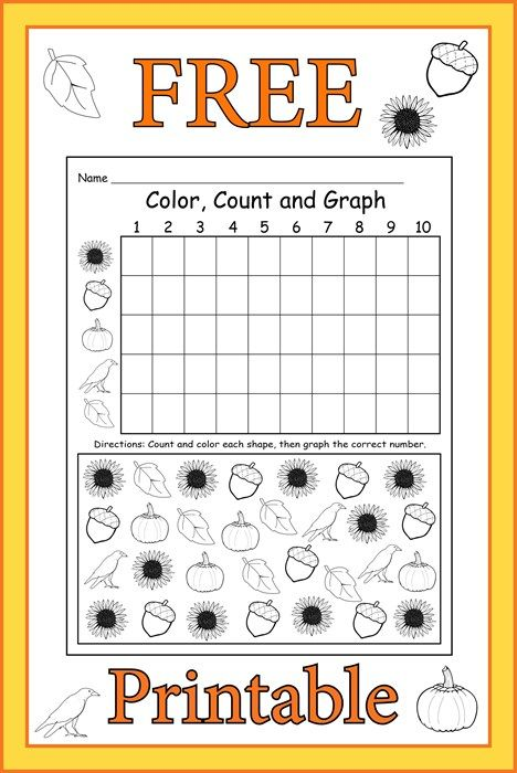 FREE Printable Fall Themed Color, Count and Graph Worksheet | Kinder ...