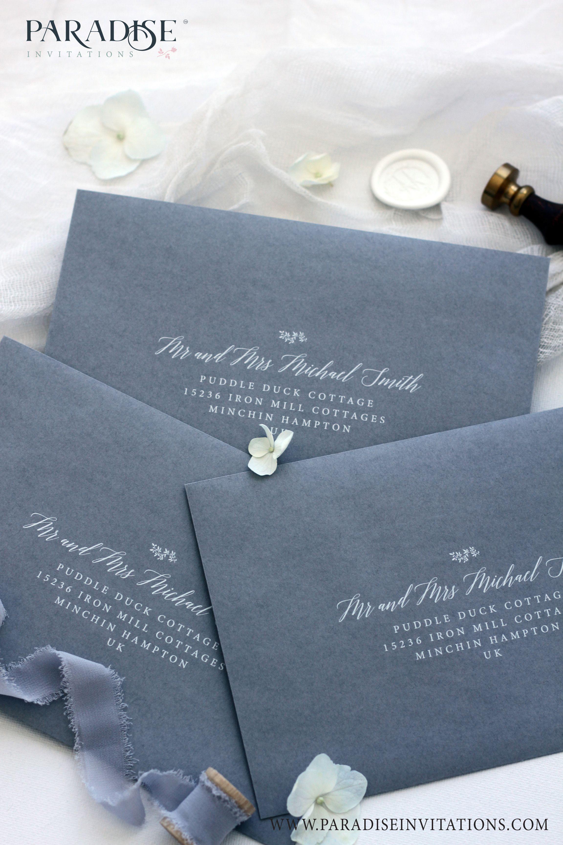 Elegant Dusty Blue Envelopes wedding stationery