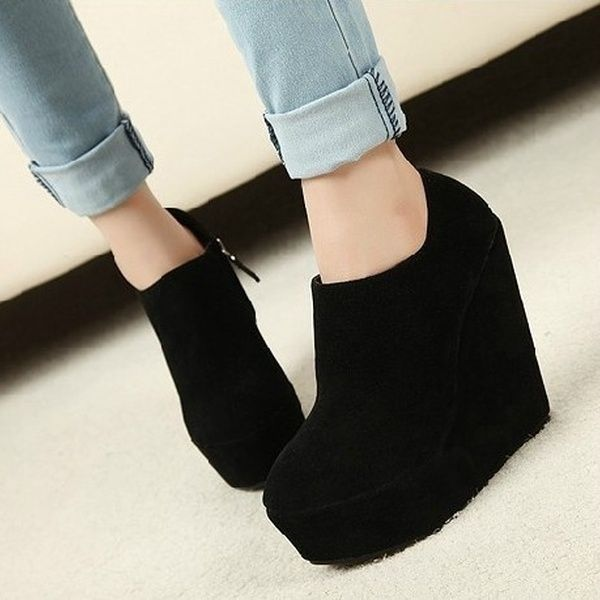 Holiday Sale !Fashion Women Ladies Boots Suede Shoes Wedge