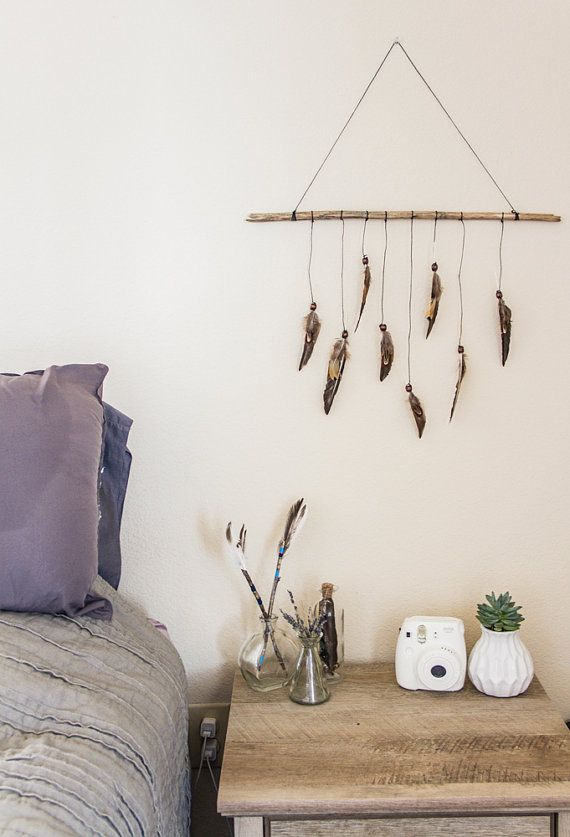 Bohemian Neutral Feather Wall Hanging Wood By DayCrafter On Etsy