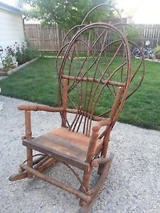 Rustic Rocking Chair Made Out Of Branches Rocking Chairs