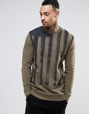 ASOS Longline Sweatshirt With Flag Print