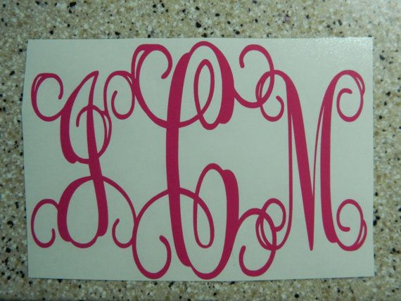 "Peel and Stick Interlocking Monogram letters  SIZE 3""x4"" ONLY for anywhere in anysize, any color   Car, windshield, cooler, boat, window $4"