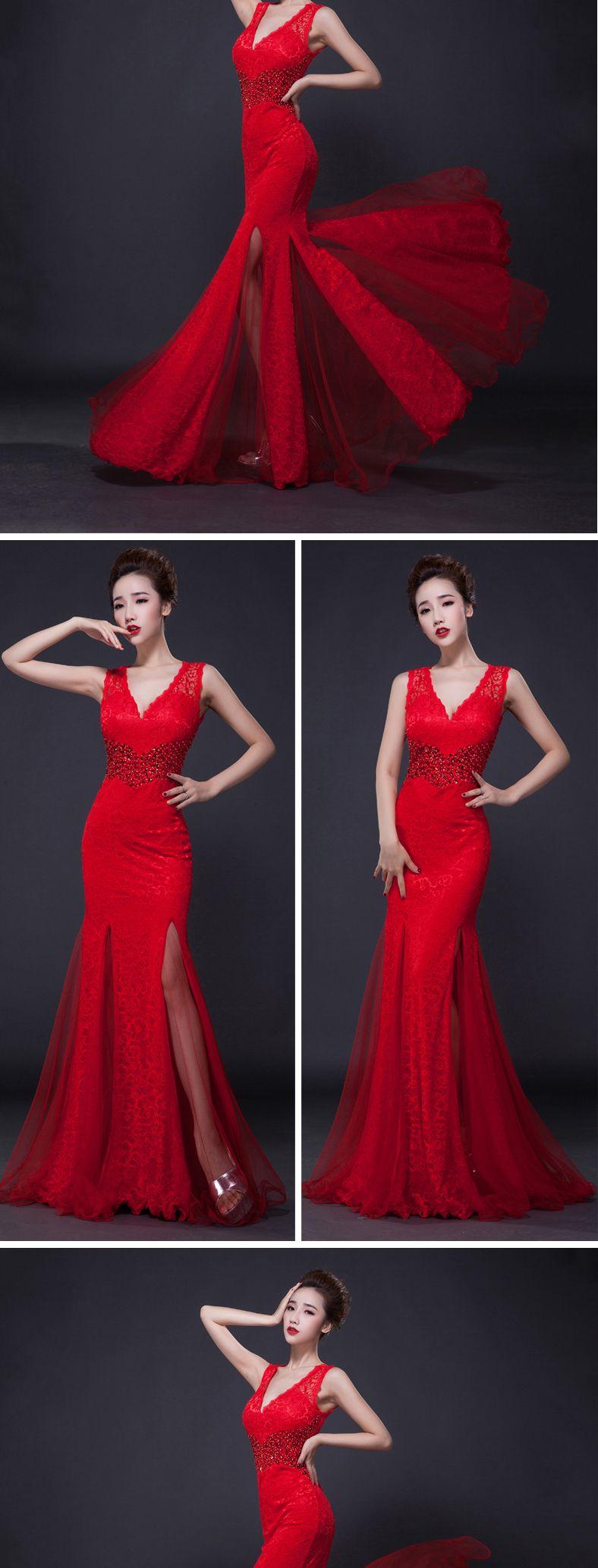 New sexy lace design long beading evening dress deep vneck slim