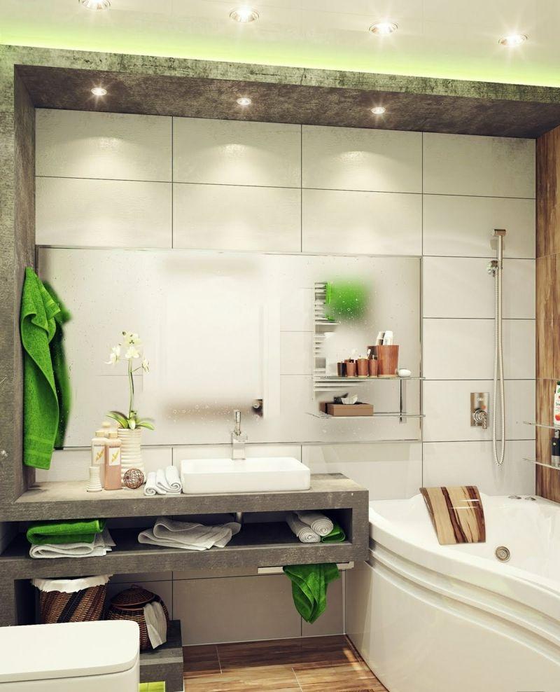 Badezimmer Kleines Beton Optik Weiss Fliesen Gruen Details Deko
