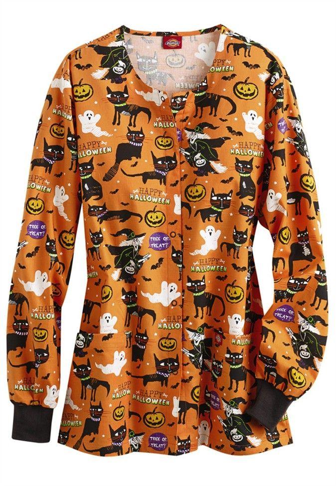 Dickies Eds A Purrfect Halloween Scrub Print Jacket
