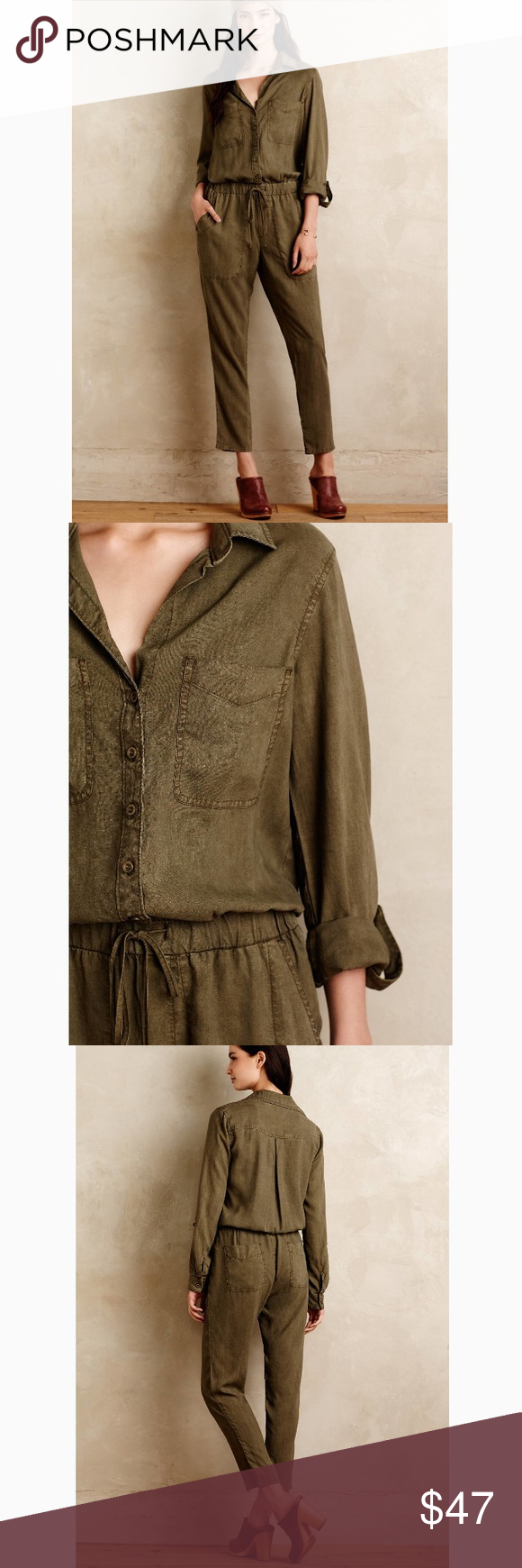 """6e3bbe836633 NWOT Anthropologie Cloth   Stone Green Jumpsuit Brand New Without Tags     Olive green   army green color    waist is adjustable    inseam is 27""""     sleeves ..."""