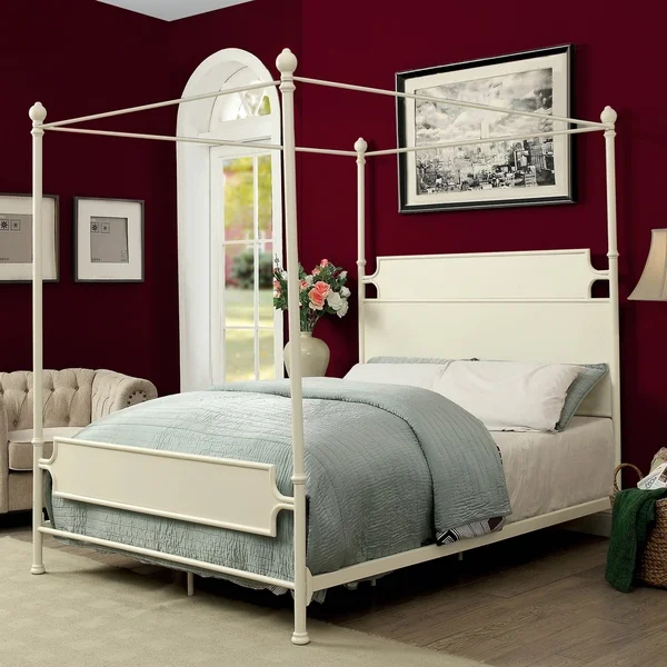 Moira Industrial Canopy Bed by FOA (Off White N/A