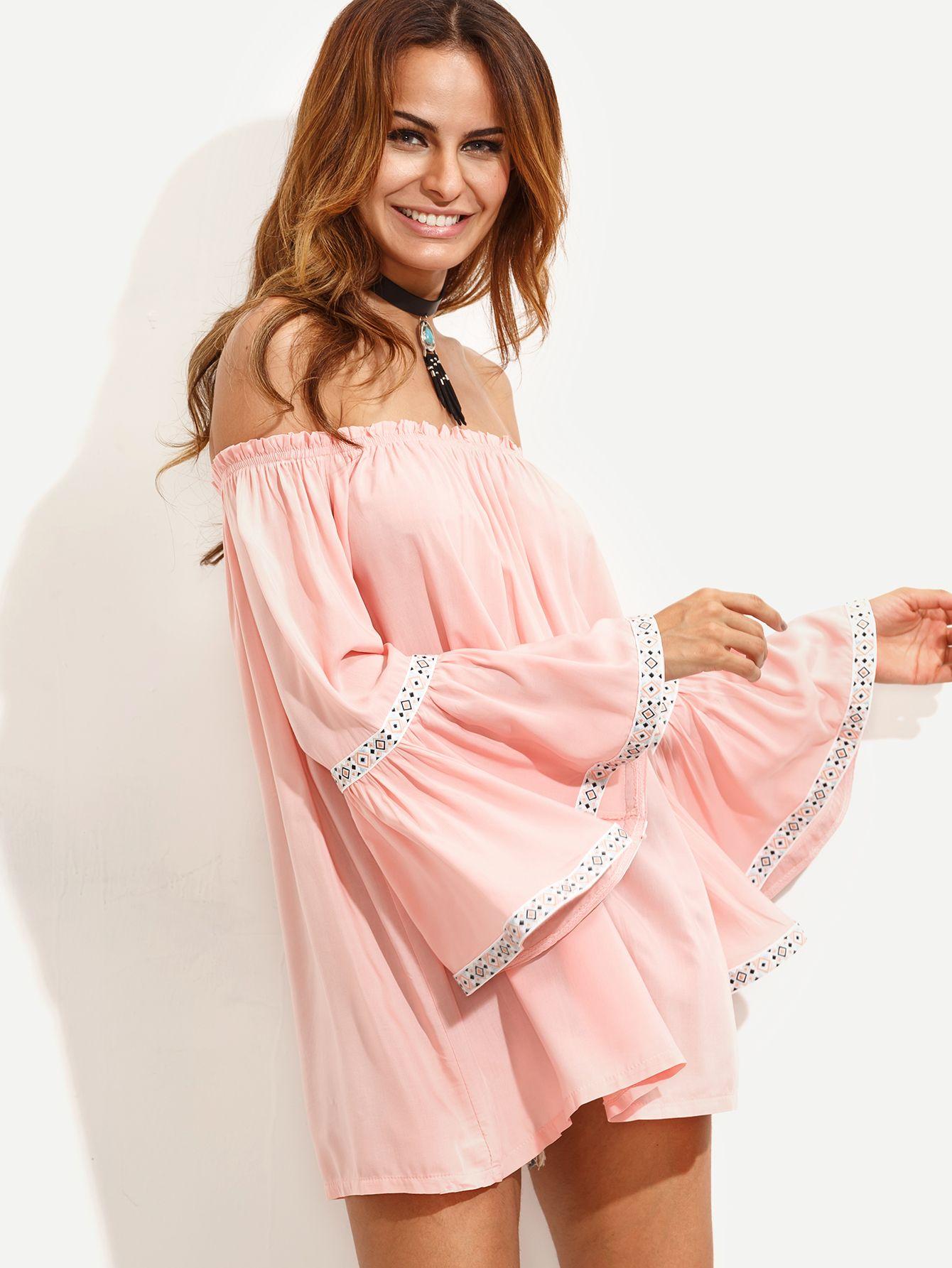 Pink Off The Shoulder Bell Sleeve Top   Bell sleeve top, Shoulder ...