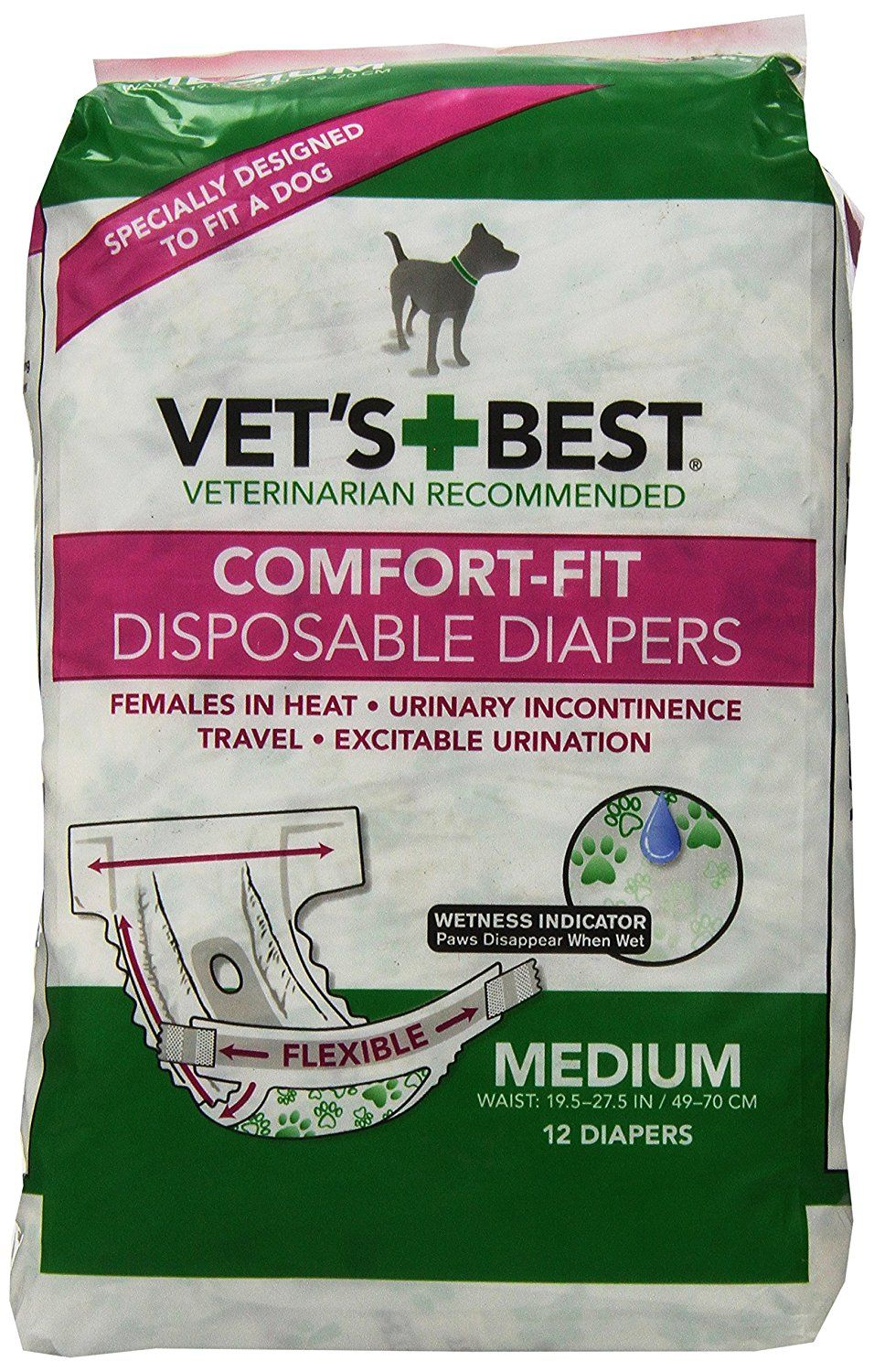 Vet S Best 12 Count Comfort Fit Disposable Female Dog Diapers Medium Check Out The Image By Visiting The Lin Female Dog Diapers Dog Diapers Girl Dog Collars