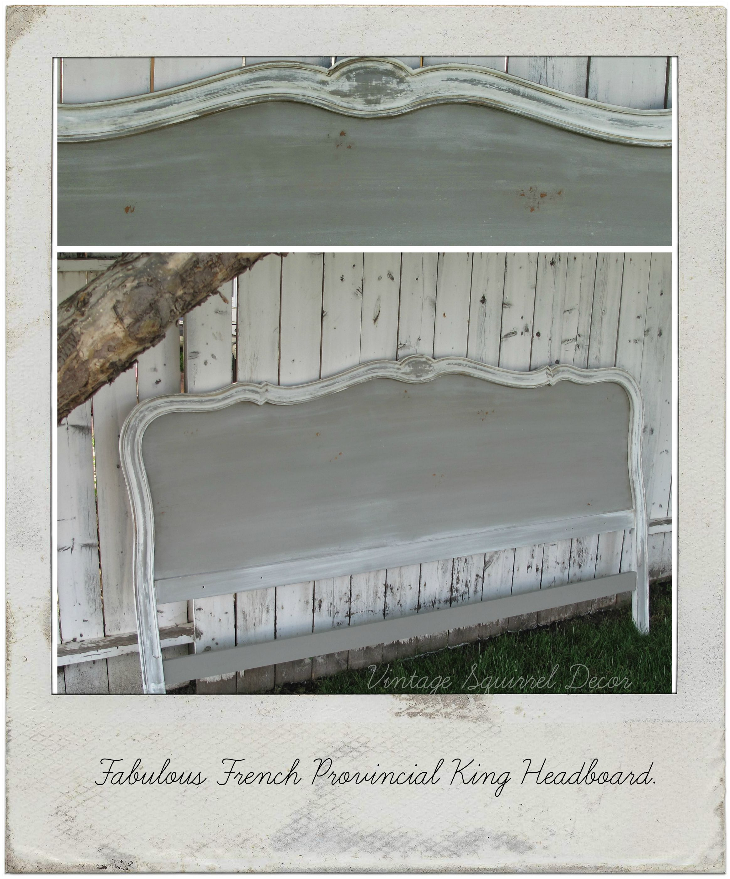 Vintage French Provincial King Headboard Painted In French Linen