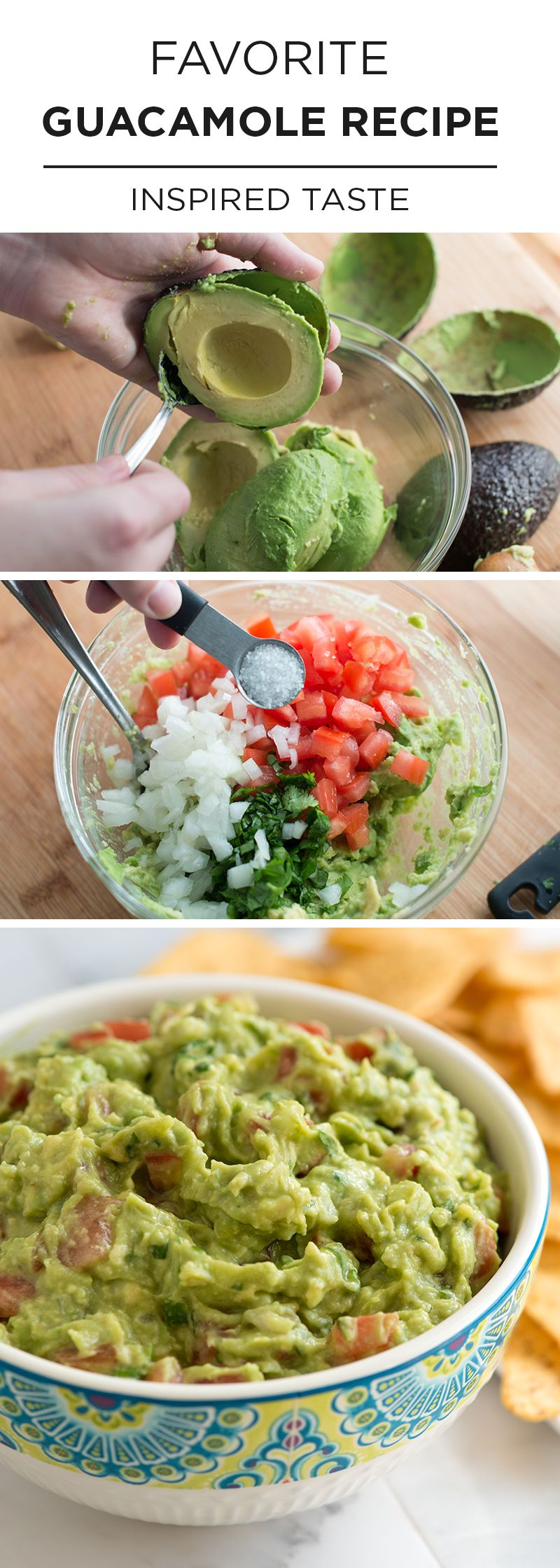 When we're entertaining we have a few recipes we always go to. Sure we'll also add something with a twist next to it, but we always include one of our staples. This simple guacamole recipe is one of those staples. It's easy, it's fresh and no matter what else we serve with it, it's always the first to go. With recipe video! From inspiredtaste.net   @inspiredtaste