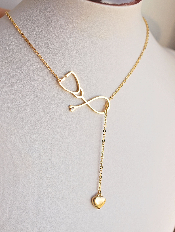Medical Necklace Stethoscope Necklace Nurse Necklace Med School Necklace 18k Gold Plated Medical Necklace Medical Necklaces Stethoscope Necklaces Hand Jewelry