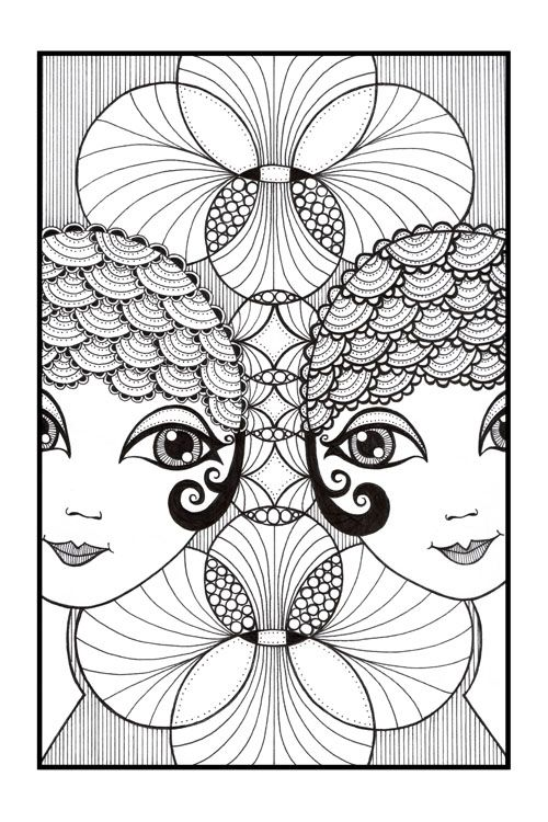 Showgirls By Danielle Reck Illustration From Australia Art Zentangle Drawings Abstract Portrait