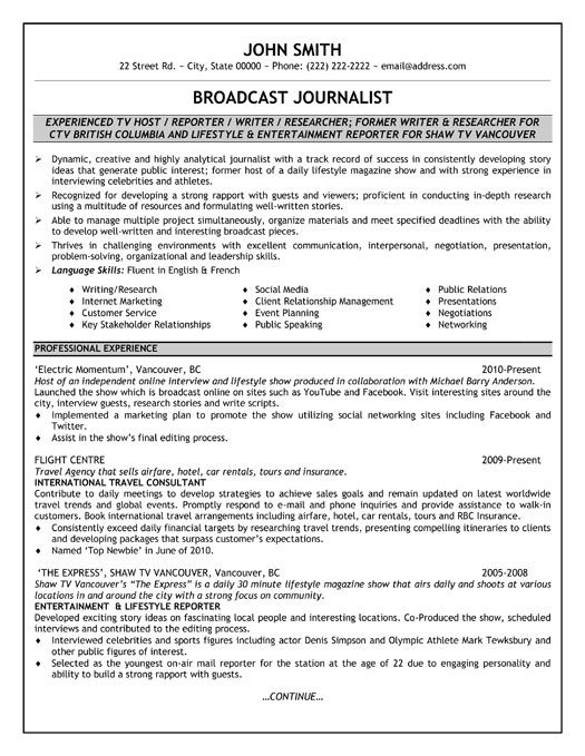 Best Of Broadcast Journalism Resume Free Professional Resume Examples