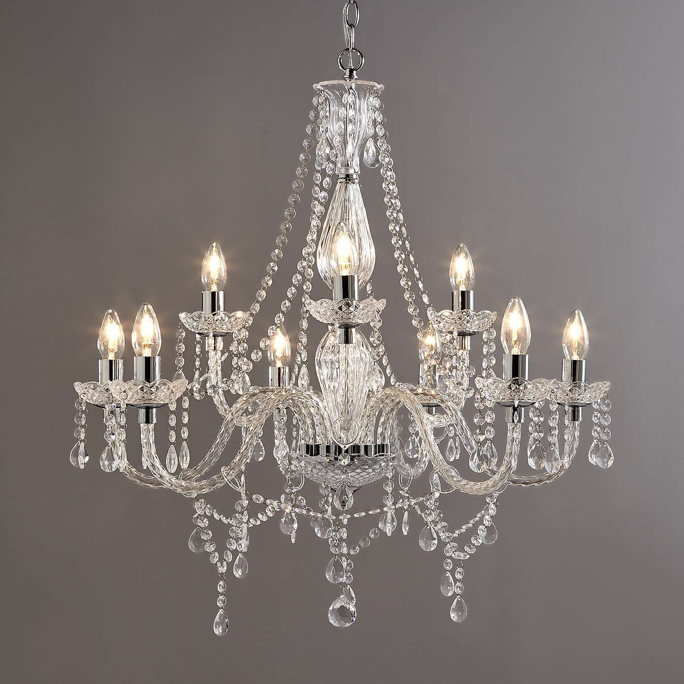 Bryony Chrome 9 Light Chandelier Dunelm Home Cabin