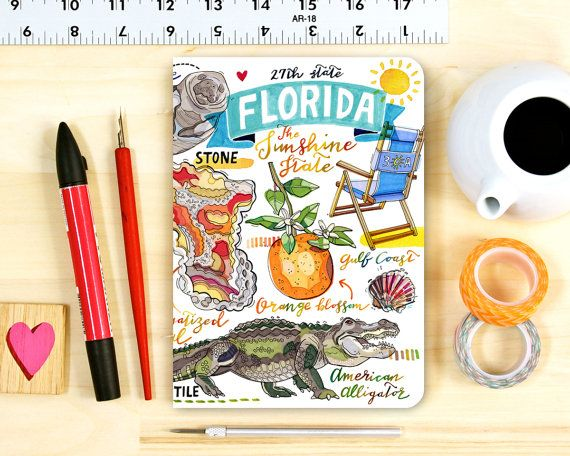 Florida notebook Blank journal illustration State by LouPaper