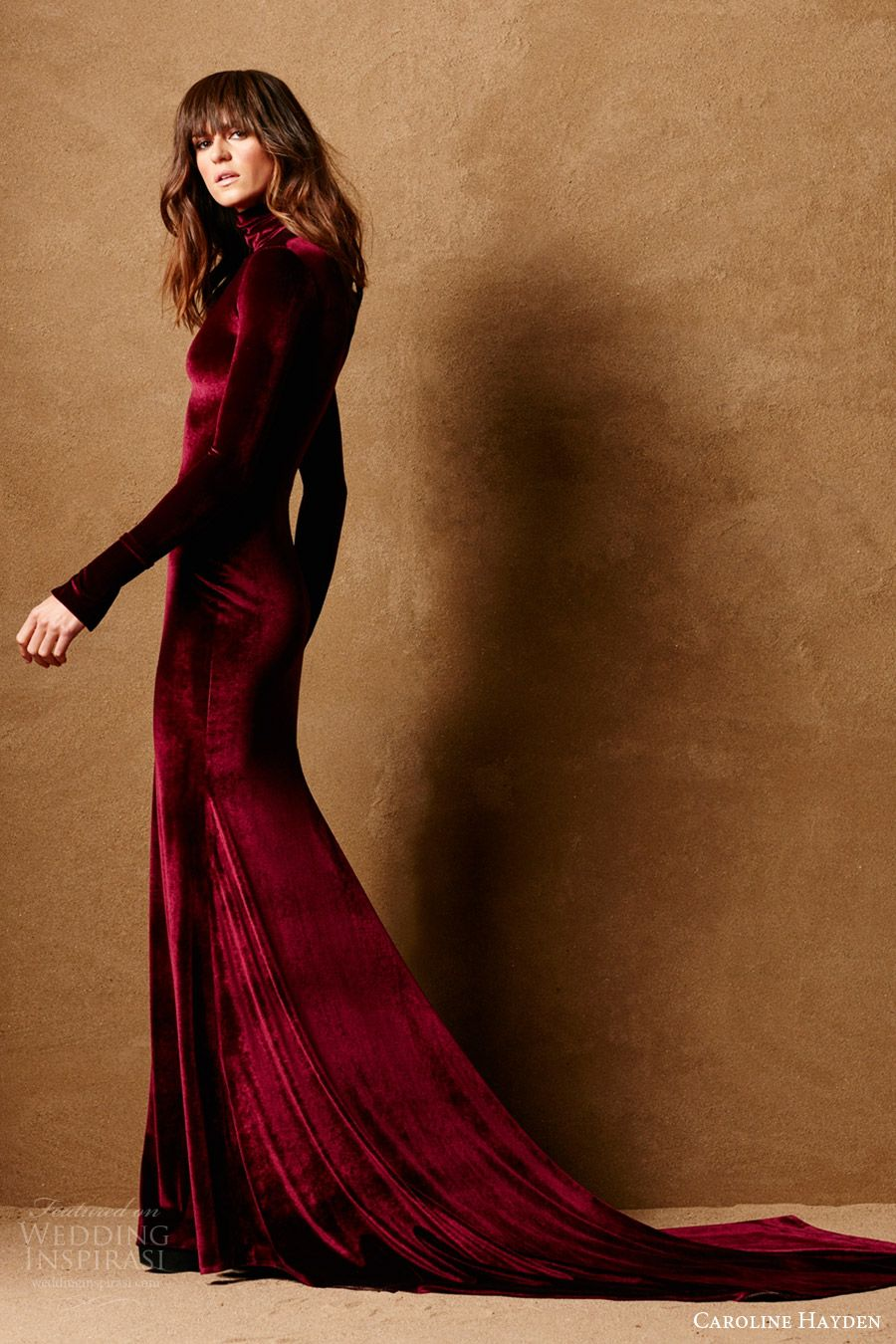 Caroline Hayden Bridal 2017 Long Sleeve High Neck Stretch Velvet Trumpet Wedding Dress Ch020 Claret Mv