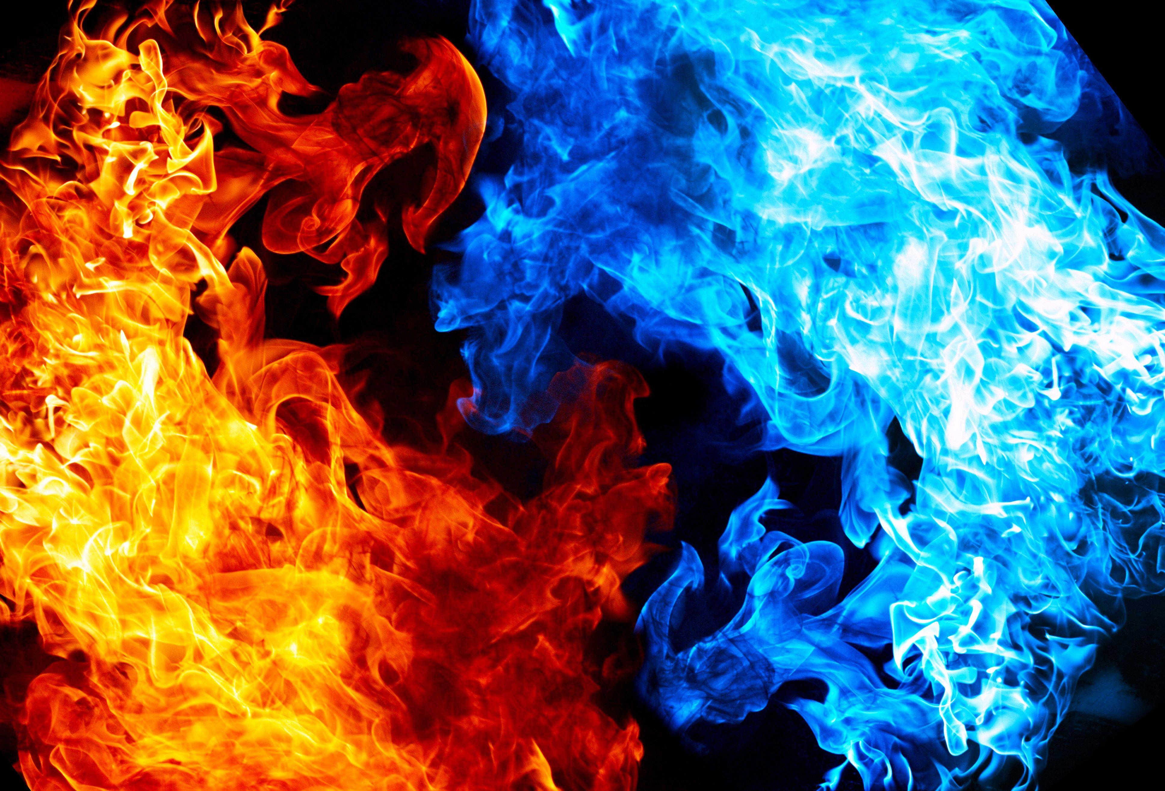 blue fire flames white