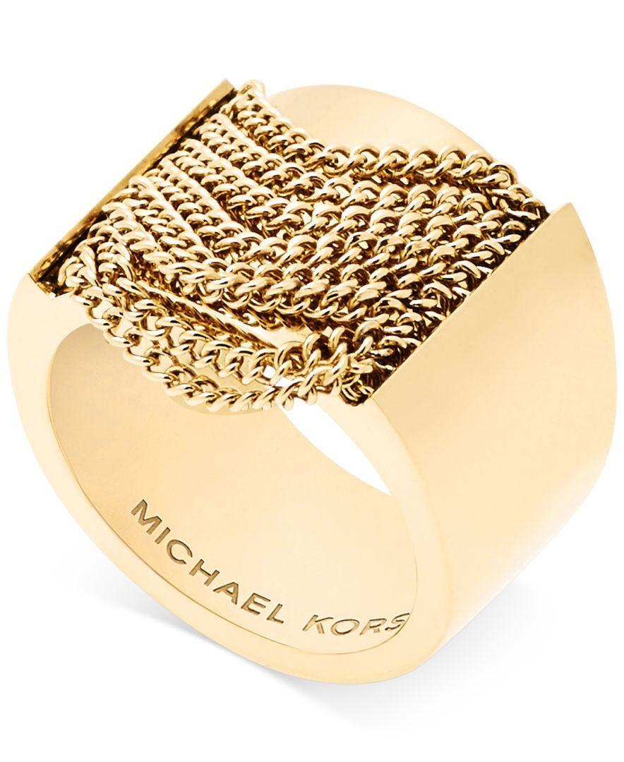 Michael Kors Gold-Tone Chain Fringe Statement Ring
