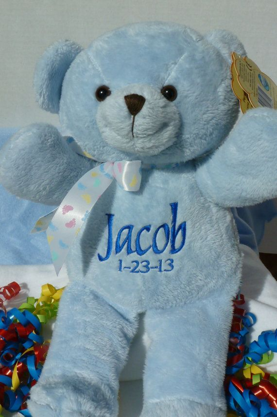 Personalized baby gift baby boy gift by worldclassembroidery personalized baby gift baby boy gift blue teddy bear blanket personalized by world class embroidery negle Gallery