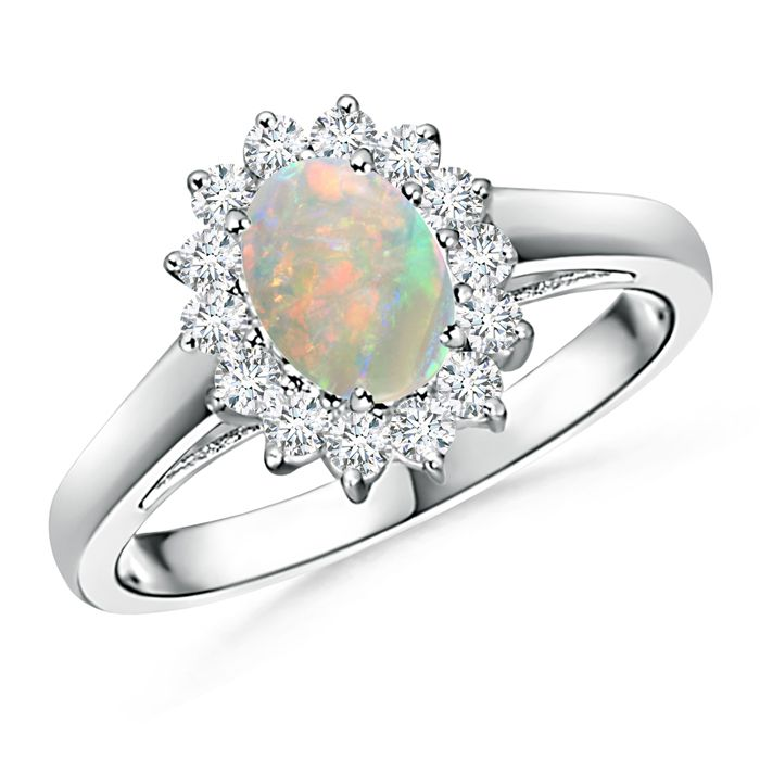 Angara Claw Set Opal and Diamond Halo Cathedral Ring in Rose Gold