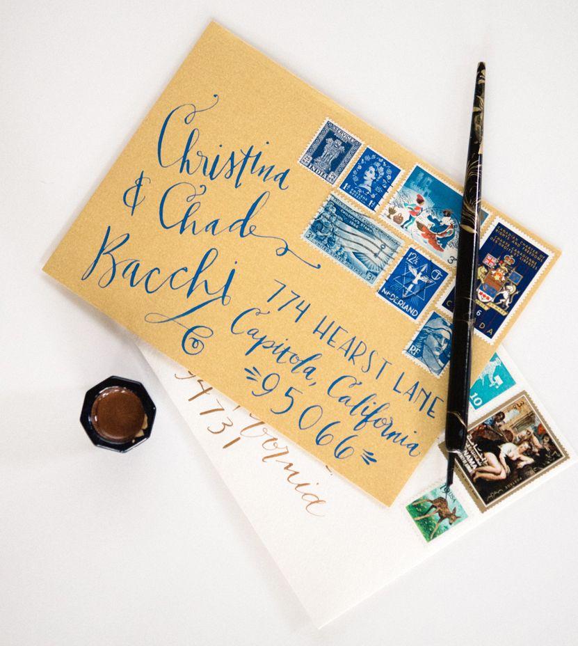 Gold Blue Envelope Calligraphy Vintage Stamps Cobalt