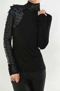 Leather Patch Shoulder Raw Moda Long Sleeves Top – Fall Fashion