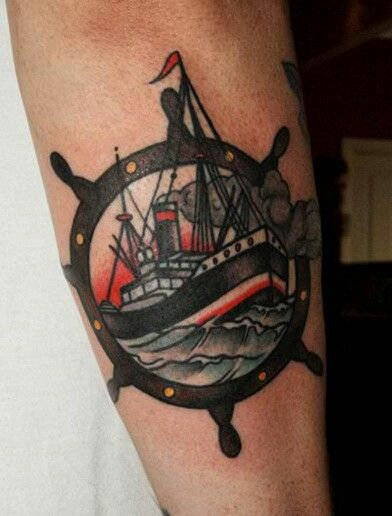 4ab619579 tattoo old school / traditional ink - helm with ship | Nautical ...